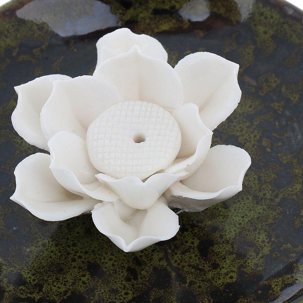 Amazon baoblaze handmade ceramic lotus flower incense stick amazon baoblaze handmade ceramic lotus flower incense stick holder burner censer plate home tearoom decor spot blue home kitchen izmirmasajfo