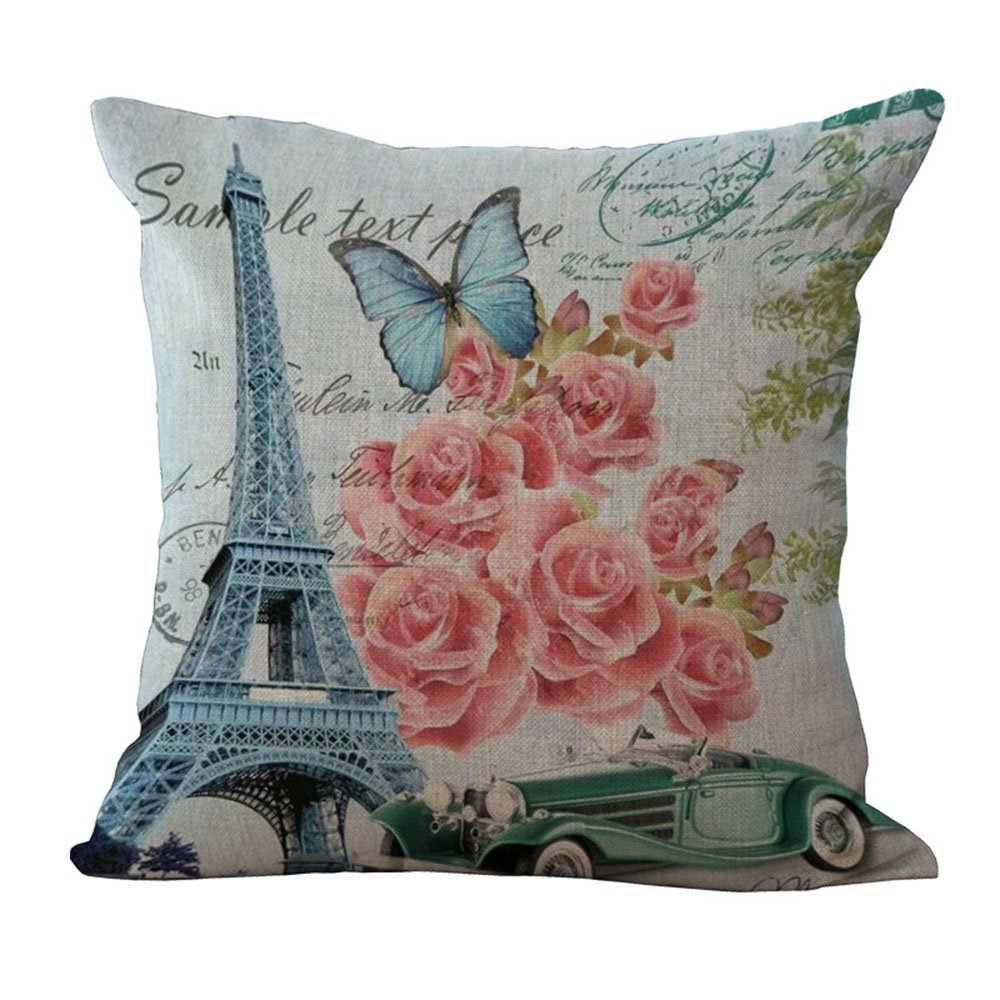 Hengjiang Eiffel Tower Throw Pillow Cushion Covers Cotton Linen Home Sofa Decor Paris France Gift (#01)