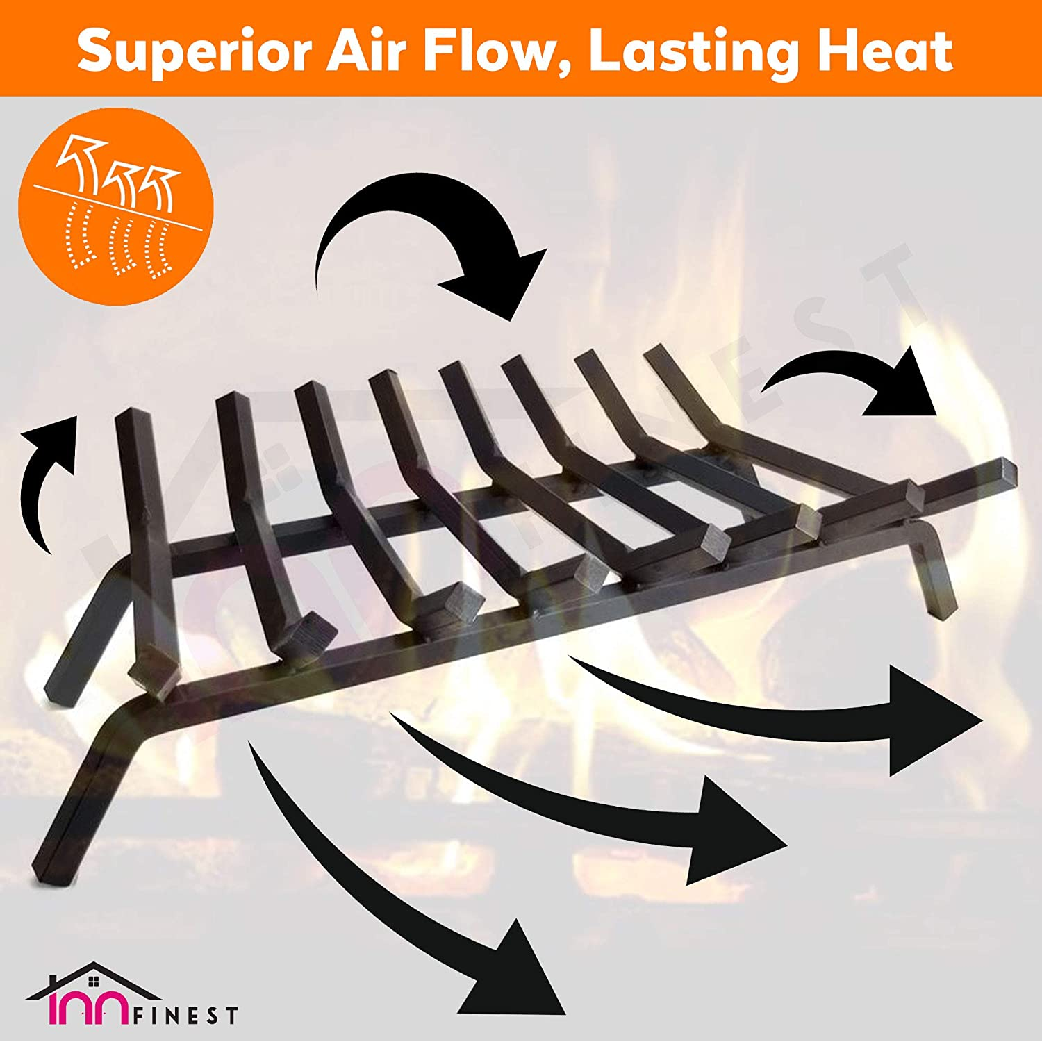 """For Indoor Chimney Hearth Outdoor Fire Place Kindling Tool Pit Wrought Iron Wood Stove Firewood Burning Rack Holder Fireplace Log Grate 18 inch Heavy Duty 3//4/"""" Wide Solid Steel 5 Bar Fire Grates"""