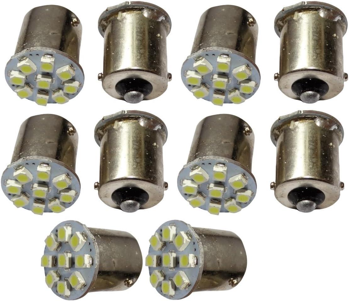 AERZETIX: 10 x Bombillas 24V P21W R10W R5W 9LED SMD blanco para camion semirremolque puerta de garaje portal
