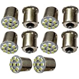 Aerzetix: 10 Pcs Set of 24V P21W R10W R5W 9LED SMD White Light Bulbs. Exterior 24V Lamps