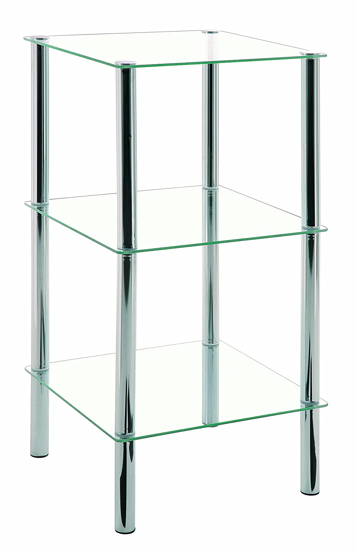 Haku M/öbel 90238 Table Basse dAppoint Tube dAcier//Verre Tremp/é Chrom/é 39 x 39 x 47 cm