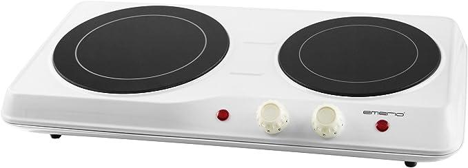 Emerio HP108629 Placa Vitrocerámica Doble Portátil, 18,9 cm y 16,4 cm de diámetro, Regulador de Temperatura, Blanco