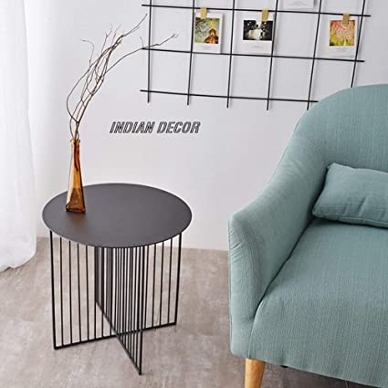 Indian Decor 1919 Round Sofa Side Table Living Room Table Balcony Table Center Table Corner Table Black Amazon In Home Kitchen