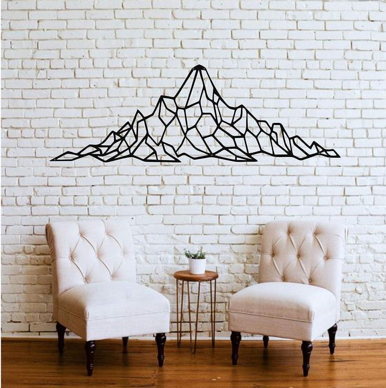 "Mountain Wall Art - Geometric Mountain Range - 3D Wall Silhouette Metal Wall Decor Office Decoration Bedroom Living Room Decor Sculpture (Black, 24"" W x 8"" H / 61x20cm)"