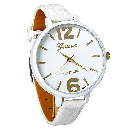 JewelryWe Reloj de Pulsera de Mujer Para El Verano, Correa de Cuero Blanco Reloj Plano Grande Para Chicas, Minimalista Reloj Cuarzo Analogico Buen Regalo ...