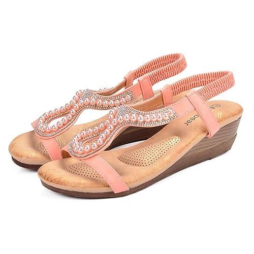 36d2a7395460a1 Shoes size plus wedge sandals beading hollow ladies bohemia open toe soft  pink beach sandals women