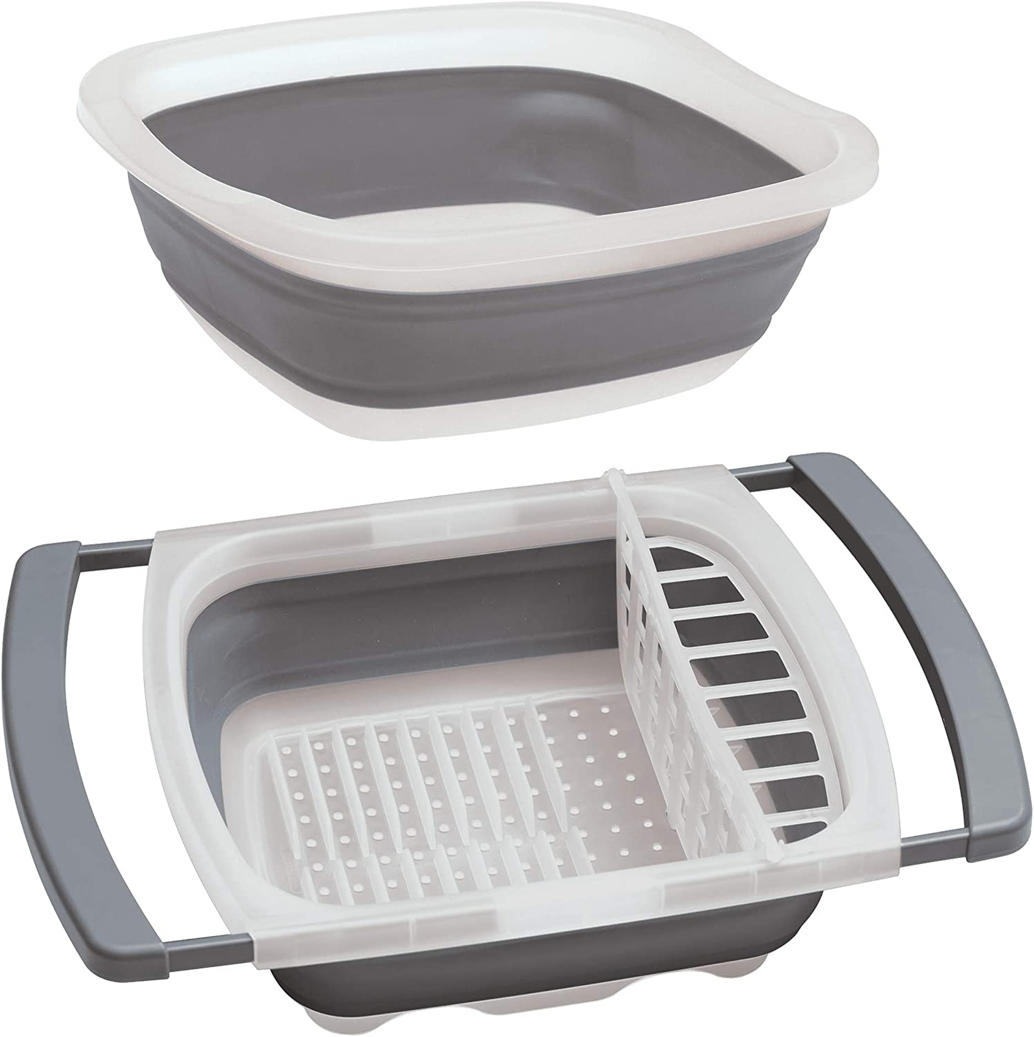 Prepworks by Progressive Collapsible Pop Up Portable Dish Tub and Over-The-Sink Dish Drainer – 2 Piece Collapsible Set