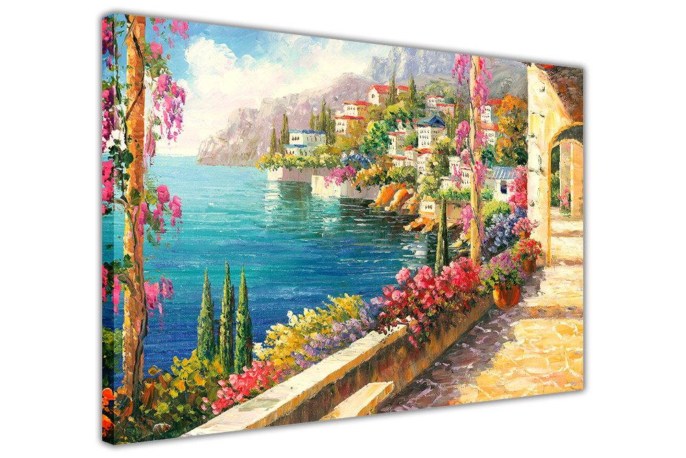 Bild auf auf auf gerahmter Leinwand mit zauberhaftem Blick von einem Balkon am Mittelmeer, Ölgemälde-Nachdruck, 06- A0 - 40