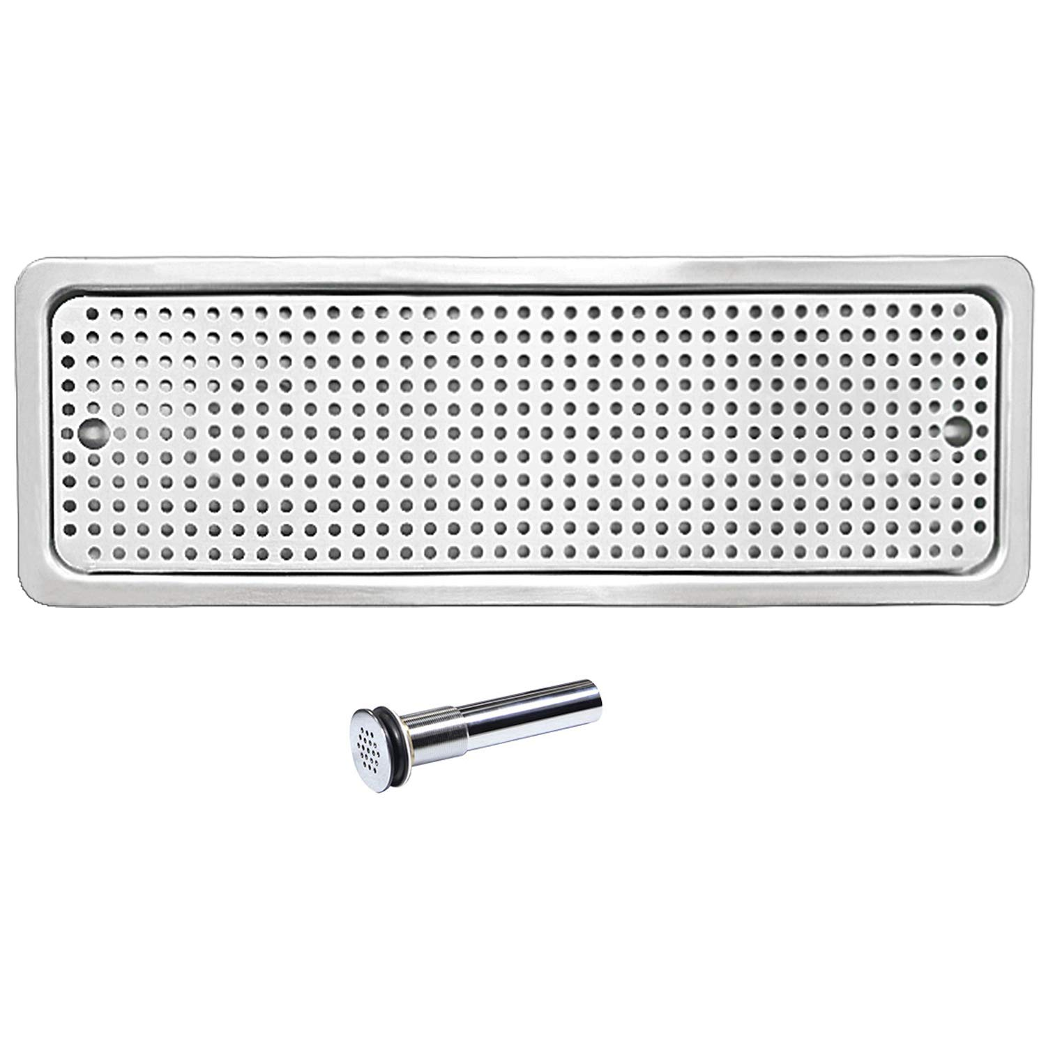 YBB Drip Tray and Drain, 304 Stainless Steel With One Side Sprays for Bar Coffee Shop, Lab, Hospital- 25.4''8.5''1''