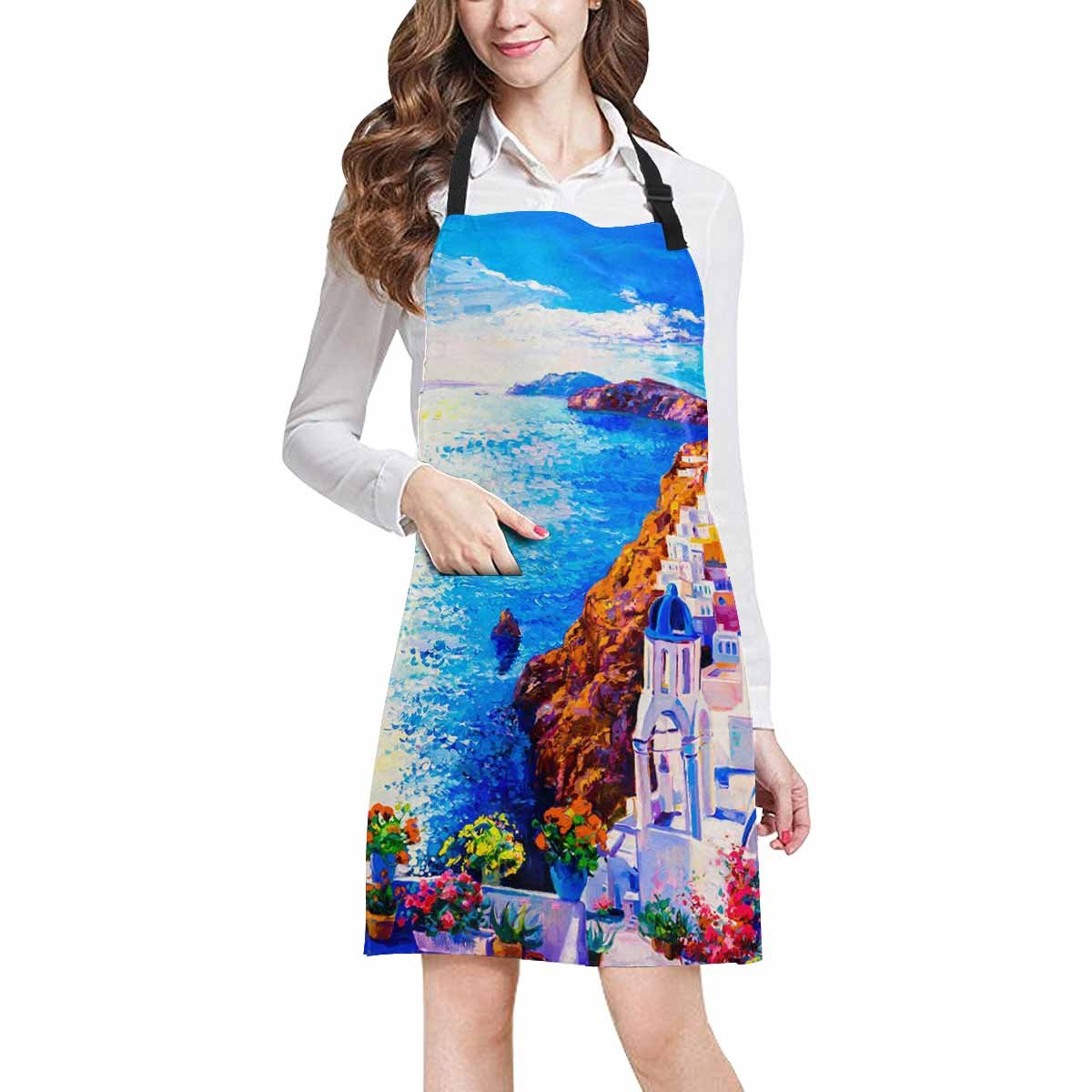 InterestPrint Beautiful European Cityscape Skyline of Oia Santorini Greece Unisex Adjustable Bib Apron with Pockets for Women Men Girls Chef for Cooking Baking Gardening Crafting, Large Size