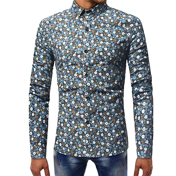 Blusa Estampada de Moda para Hombre Camisas de Manga Larga Casual Slim Tops por Internet.
