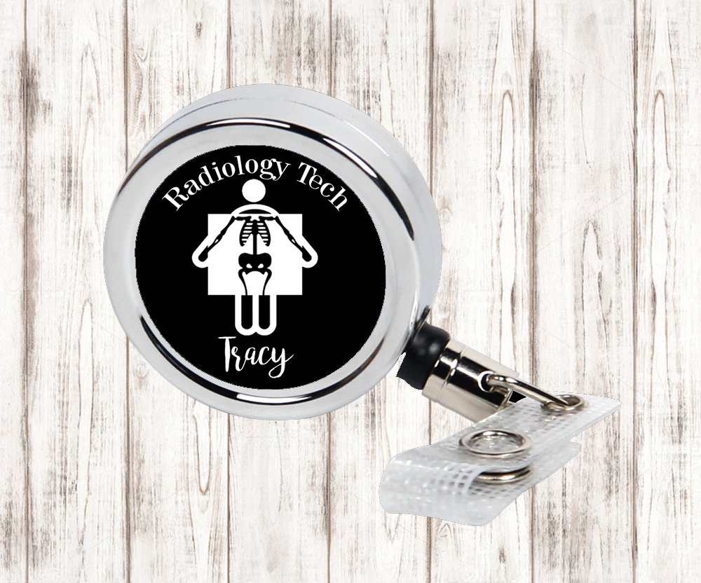 Radiology Tech Personalized Metal Retractable Badge Reel, ID Holder