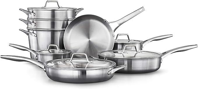 Amazon.com: Calphalon Premier Stainless Steel 13-Piece Cookware Set, Silver: Kitchen & Dining