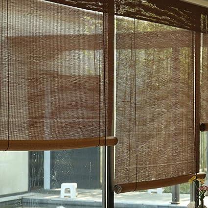 FFZC hogar partición sombrilla cortinas de bambú tamaño personalizado enrollado cortinas de bambú sombreado a través de paisaje balcón protector solar elevación bambú cortinas: Amazon.es: Hogar