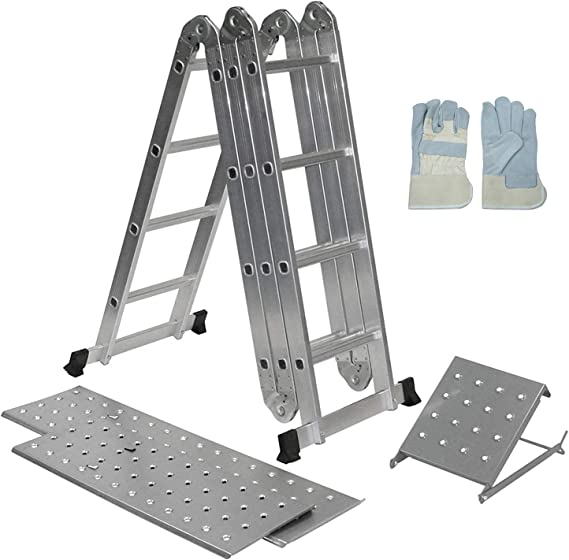 Keraiz - Escalera plegable de aluminio extensible multiusos | andamios | 2 plataformas y bandeja de herramientas: Amazon.es: Bricolaje y herramientas