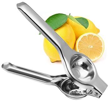 Manual de acero inoxidable exprimidor de limones, Bienna Premium resistente de primera calidad Manual ANTI-CORROSIVE seguro amarillo limón exprimidor de ...