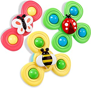 Jaccy Suction Cup Spinning Top Toy for Baby, Spin Sucker Spinning Top Spinner Toys, Early Learner Bug Toys Stress Relief Creative Educational Toys for Babies Kids Girls Boys