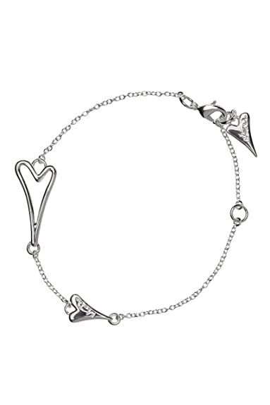 Miss Dee silver plated delicate chain bracelet with a hollow heart shaped pendant and a smaller solid heart QisEbIxGP
