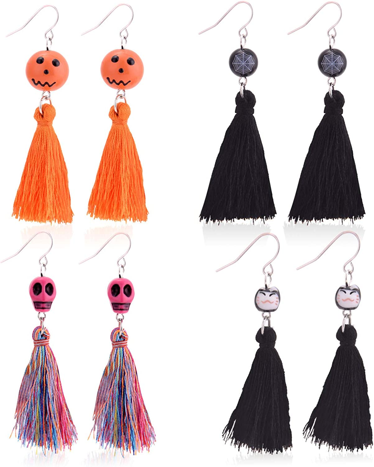 Long Stunning Statement Earrings Idea for Women Halloween Party Colorful Crystal Skeleton Earrings Drop Girls Skeleton Earrings Dangle Halloween