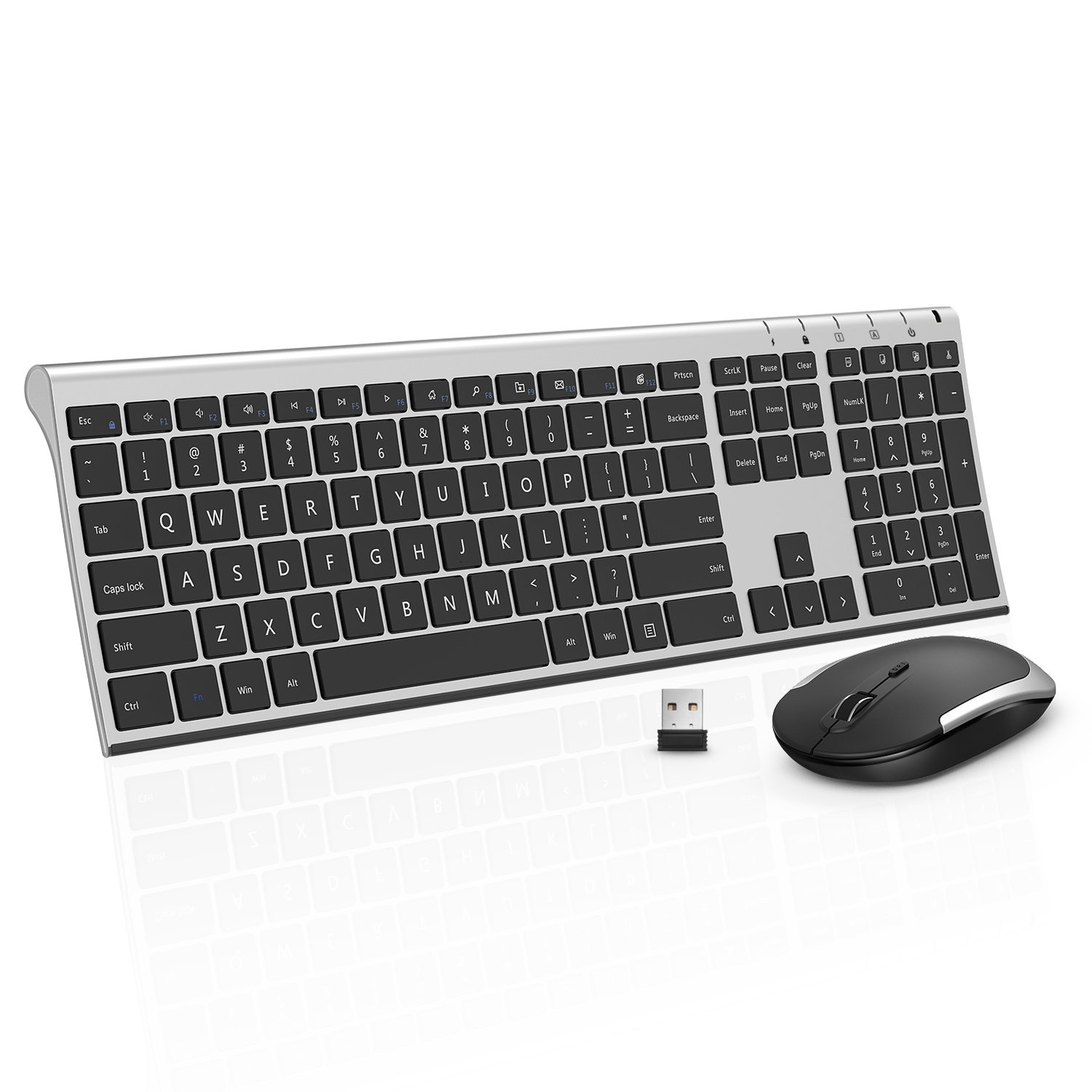Wireless Keyboard Mouse, Jelly Comb 2.4GHz Ultra Slim Full Size Rechargeable Wireless Keyboard and Mouse Combo for Windows, Laptop, Notebook, PC, Desktop, Computer (Black and Silver)