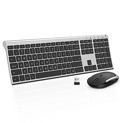 d1bafdb4688 Wireless Keyboard Mouse, Jelly Comb 2.4GHz Ultra Slim Full Size  Rechargeable Wireless Keyboard and