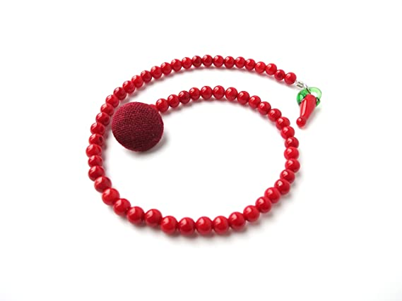 Amazon.com: Teñido Rojo Piedra Cadena de solapa redonda ...