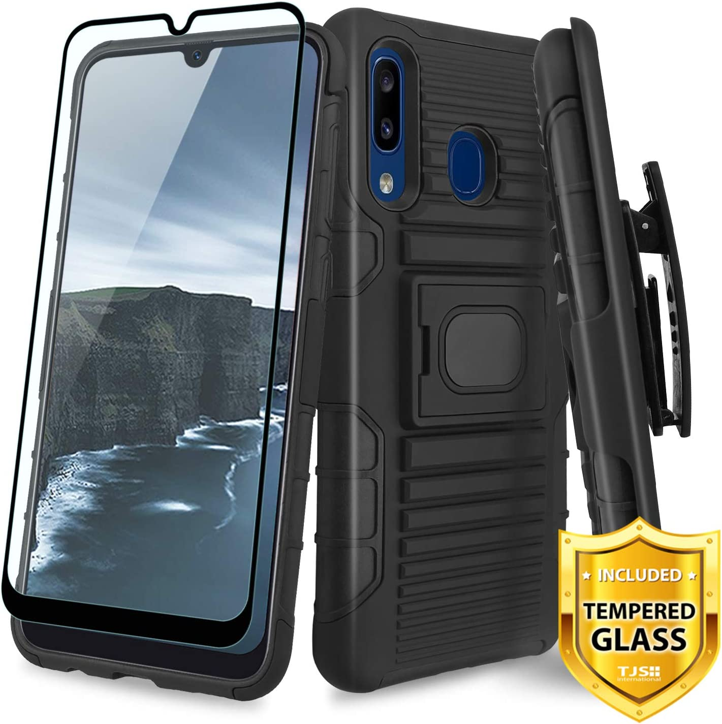 Evocel Galaxy A20 Case Explorer Series Pro with Glass Screen Protector and Belt Clip Holster for The Samsung Galaxy A20 Camouflage