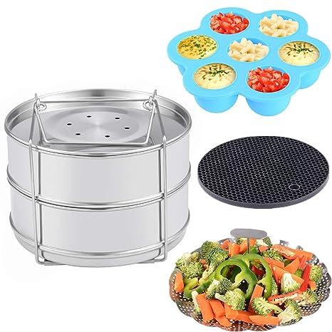 Accesorios para Olla de Presión Instant Pot – Bandejas Apilables de Acero Inoxidable para Cocinar Alimentos al Vapor, Cesta Vaporera para Vegetales, ...