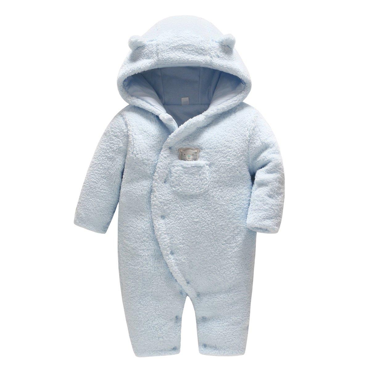 Vine Bambino Tute da neve Neonato Pagliaccetto con Cappuccio Inverno FOOTED Tutina in Pile Blu 0-3 Mesi