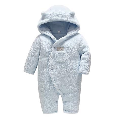 ff3d62b1be Vine Bambino Tute da neve Neonato Pagliaccetto con Cappuccio Inverno FOOTED  Tutina in Pile, Blu