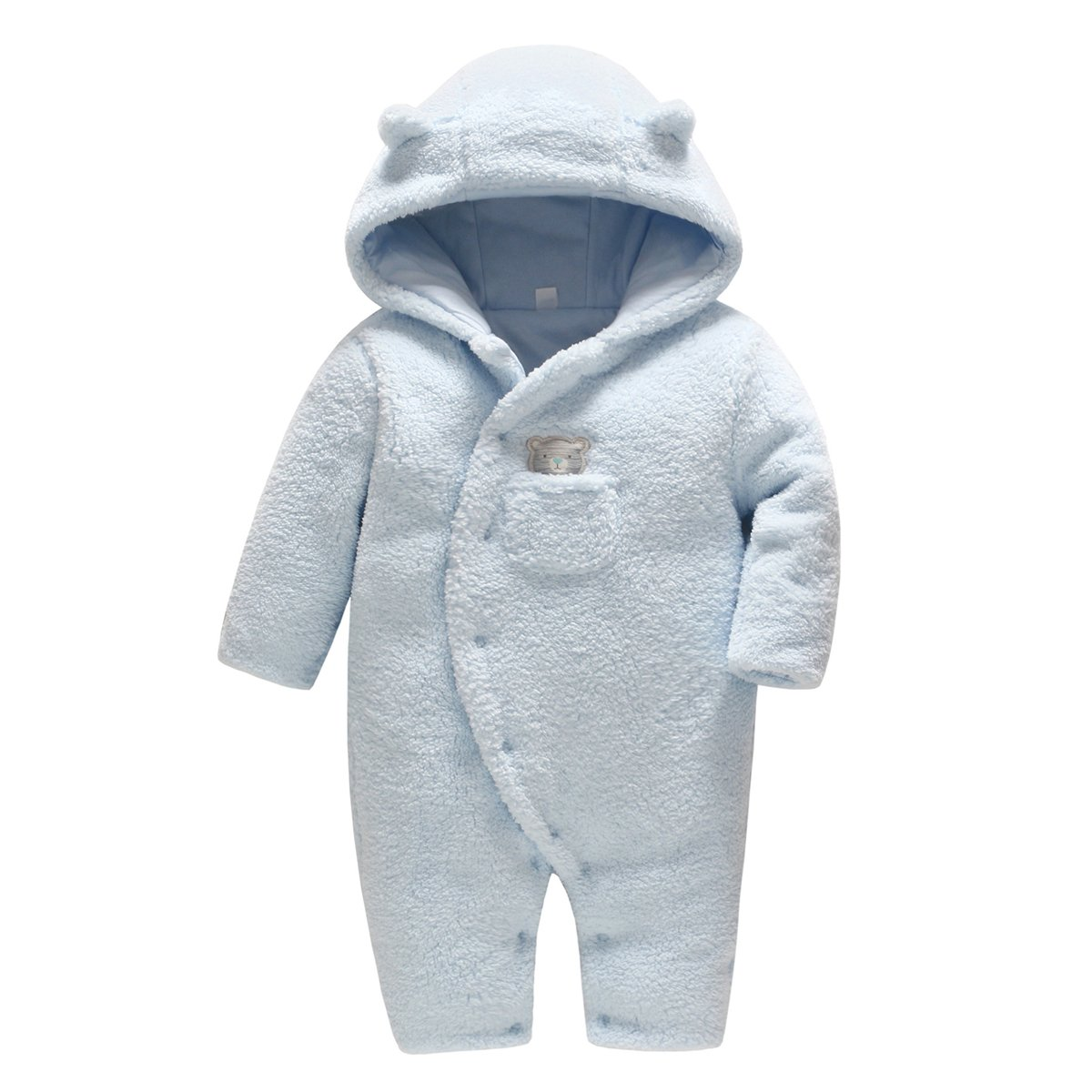 4ec1fdc37 Newborn Baby Hooded Fleece Romper Snowsuit Infant Onesies Jumpsuit Fall  Winter Outwear Outfits: Amazon.co.uk: Clothing