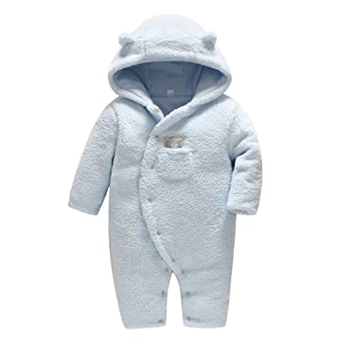 bb4528b37e Vine Baby Schneeanzüge Winter Fleece Overall mit Kapuze Mädchen Jungen  Strampler Jumpsuit: Amazon.de: Baby