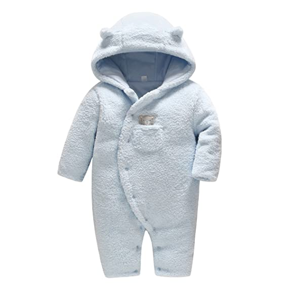 74c584c19 Newborn Baby Hooded Fleece Romper Snowsuit Infant Onesies Jumpsuit ...