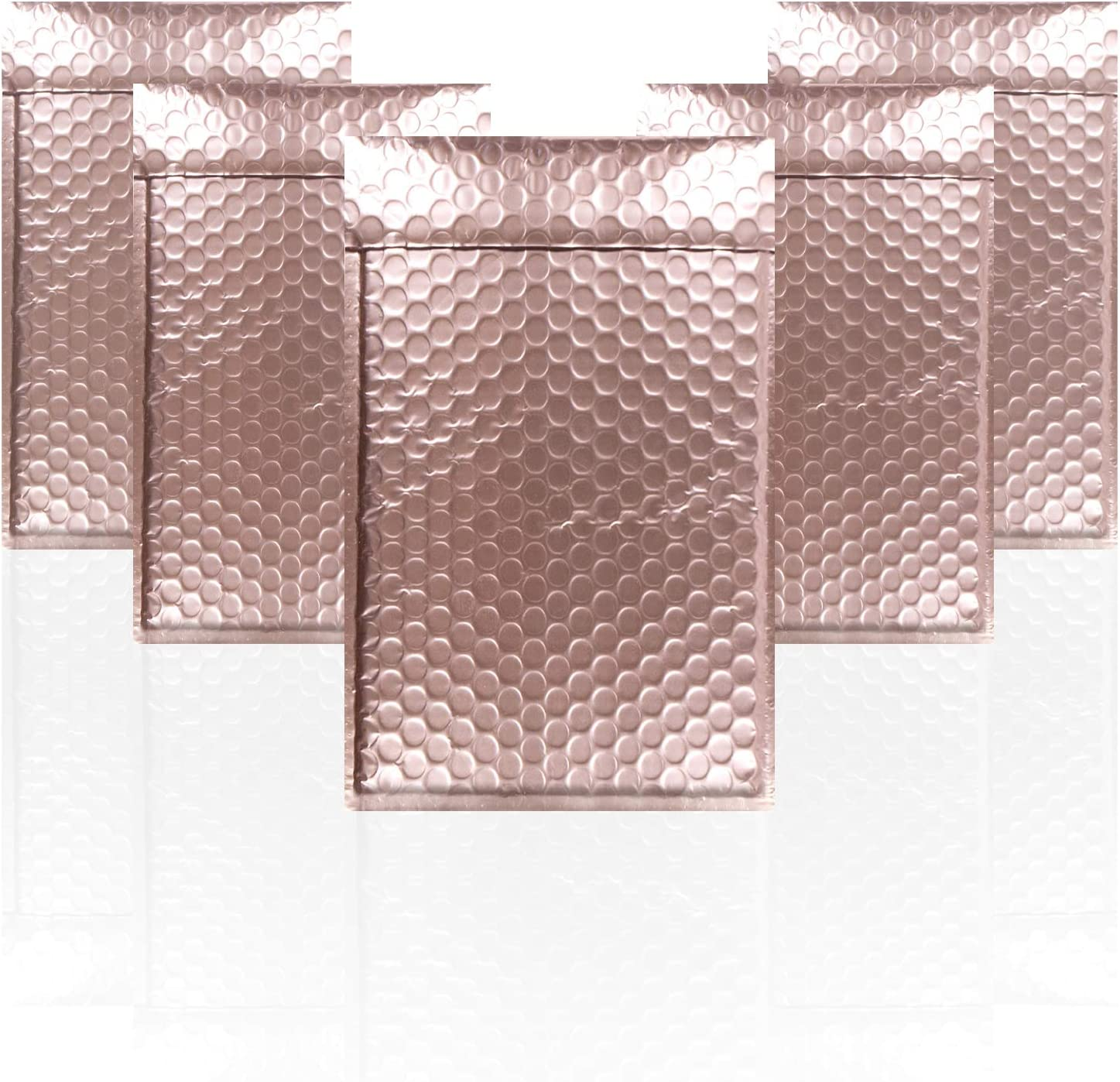 AMZ Bubble Mailers 5 x 9 Pack of 25 Rose Gold Padded Envelopes 5x9 Self-adhesive Closure Metallic Shipping Bags for Mailing Packaging