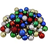"""96ct Multi-Color 4-Finish Shatterproof Christmas Ball Ornaments 1.5"""" (40mm)"""