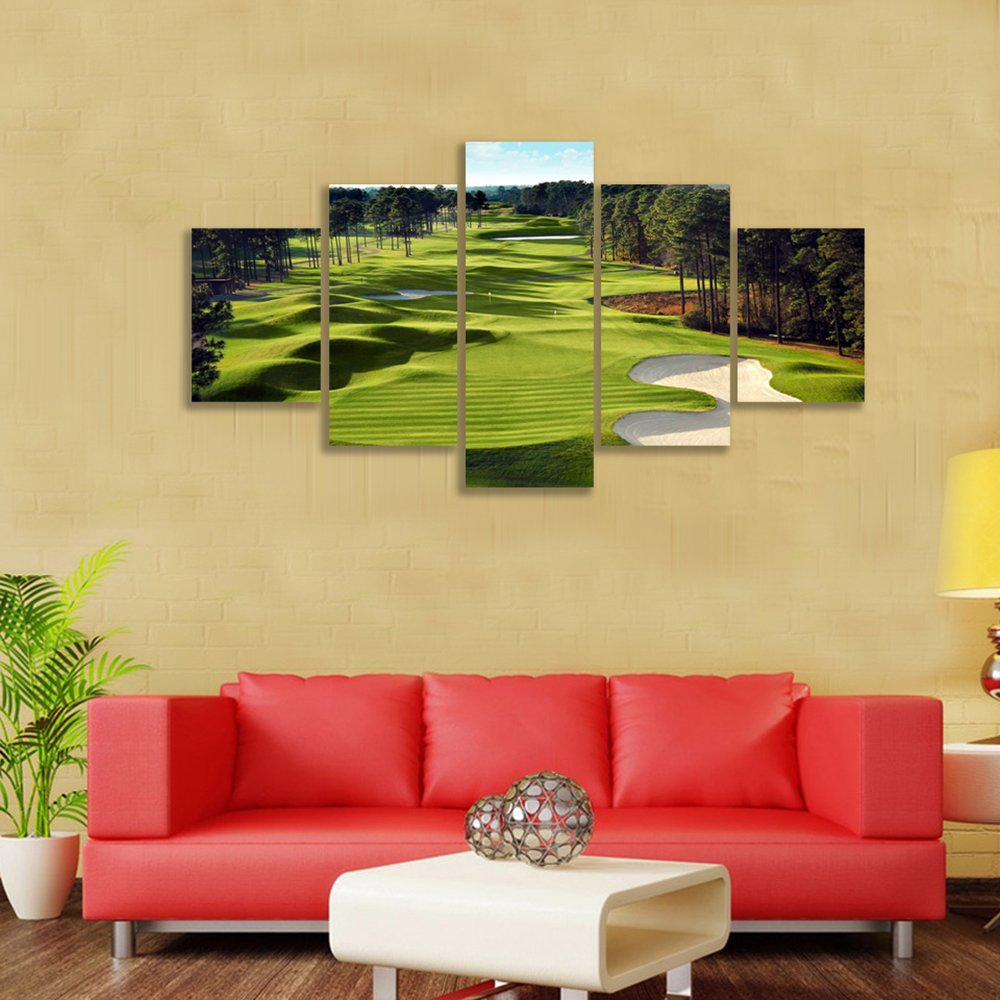 Amazon.com: Green Grass Golf Course Field Wall Art Canvas Prints Art ...