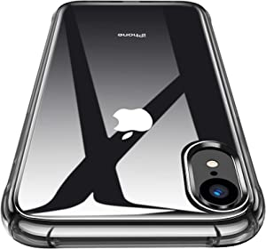 CANSHN Compatible with iPhone XR Case 6.1'', Clear Protective [Military Grade Drop Test] [Slim Thin] Case with 4 Reinforced Soft TPU Bumpers - Black