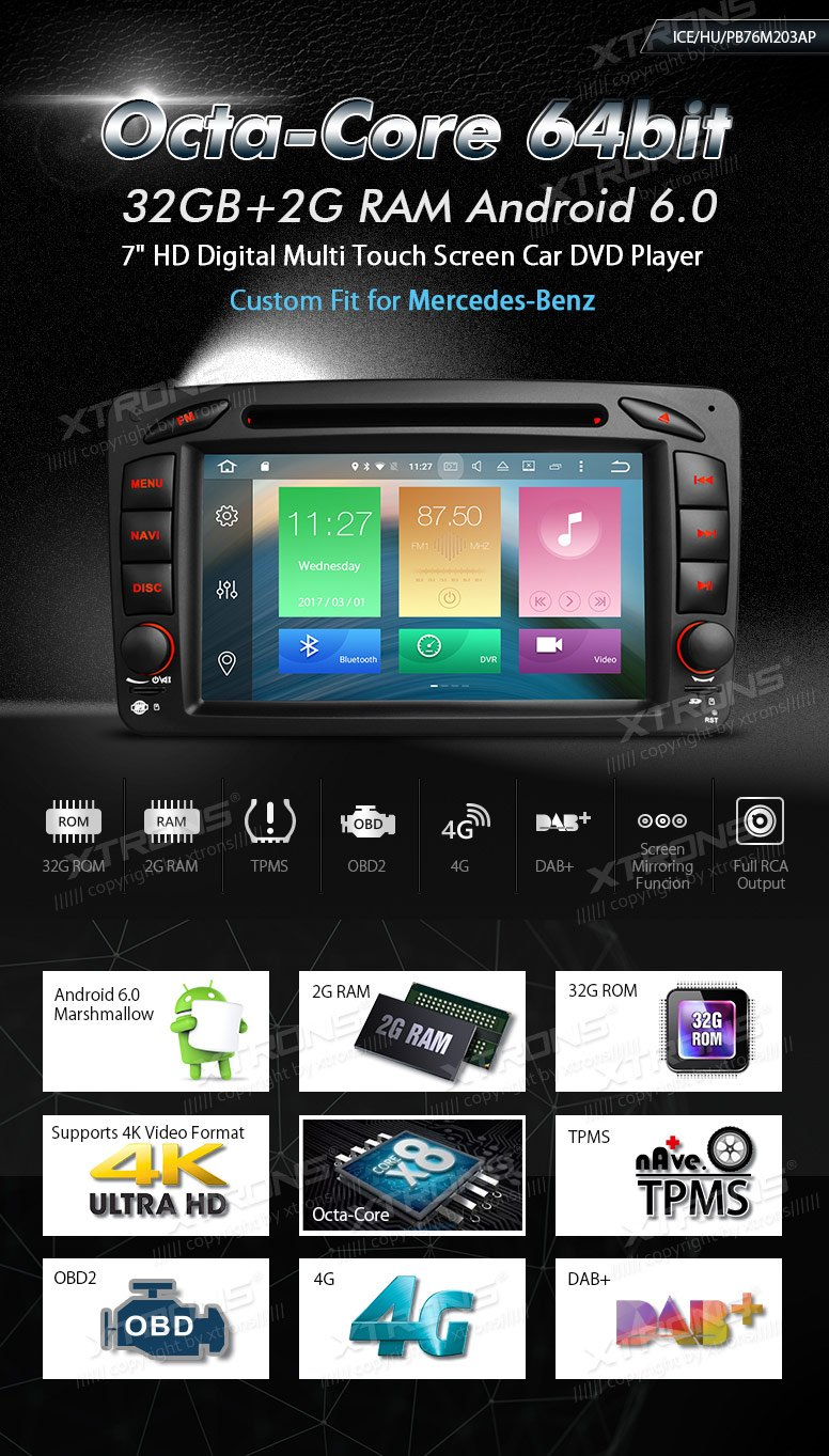 XTRONS Android 6.0 Octa-Core 64Bit 7 Inch Capacitive Touch Screen Car Stereo Radio DVD Player GPS CANbus Screen Mirroring Function OBD2 Tire Pressure Monitoring for Mercedes Benz W203 W209 W463 by XTRONS (Image #2)