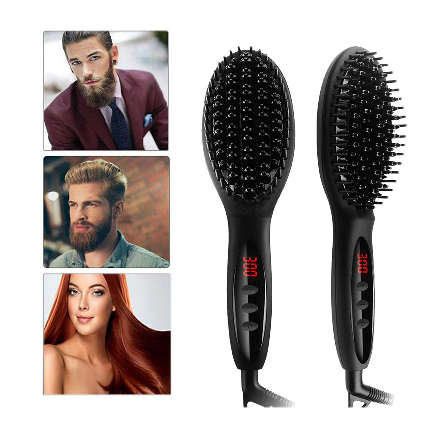 Beard Straightening Brush, Hair Straightener Brush with Anti-Scald Feature Faster Heating Hot Brush Ceramic Iron Hair Brush, Auto Temperature Lock and Auto-off Function, Portable Size for Travel
