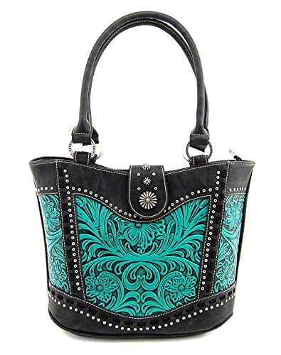 37c3b6097 Montana West Trinity Ranch Tooled Leather Collection Handbag, Western Tote  Style (Black/Turquoise
