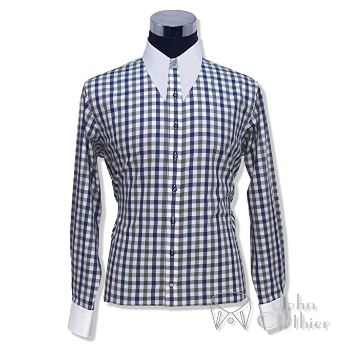 9f11f15769262 Mens Spear Point Collar Blue Grey Checks Bankers Shirt Vintage ...