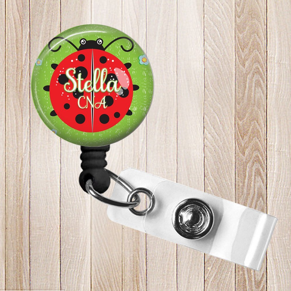 Ladybug Personalized Retractable Badge Reel, ID Holder