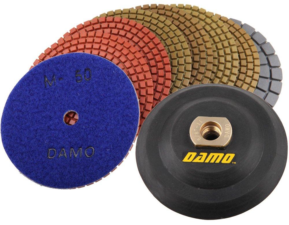 Black Buff Back Holder for Granite Countertop Floor DAMO Diamond Polishing Pads 4 inch Wet Set of 7