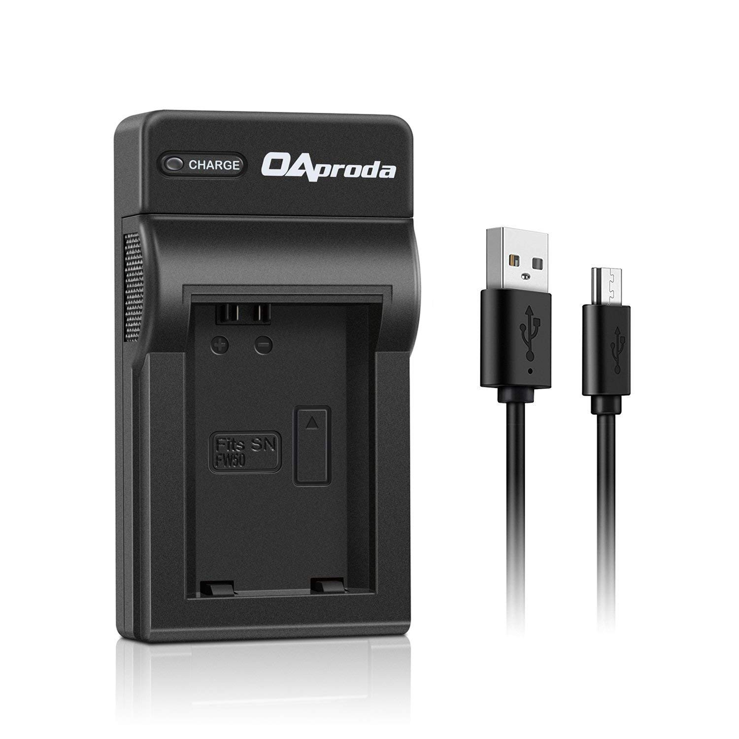 OAproda NP-FW50 New Generation High Efficient Silm Micro USB Battery Charger for Sony Alpha a7R, a7S, a7S, a7, a7s II, a6500, a6300, a6000, NEX-3, NEX-5N, NEX-5, NEX-5R, NEX-5T, RX10 Digital Camera