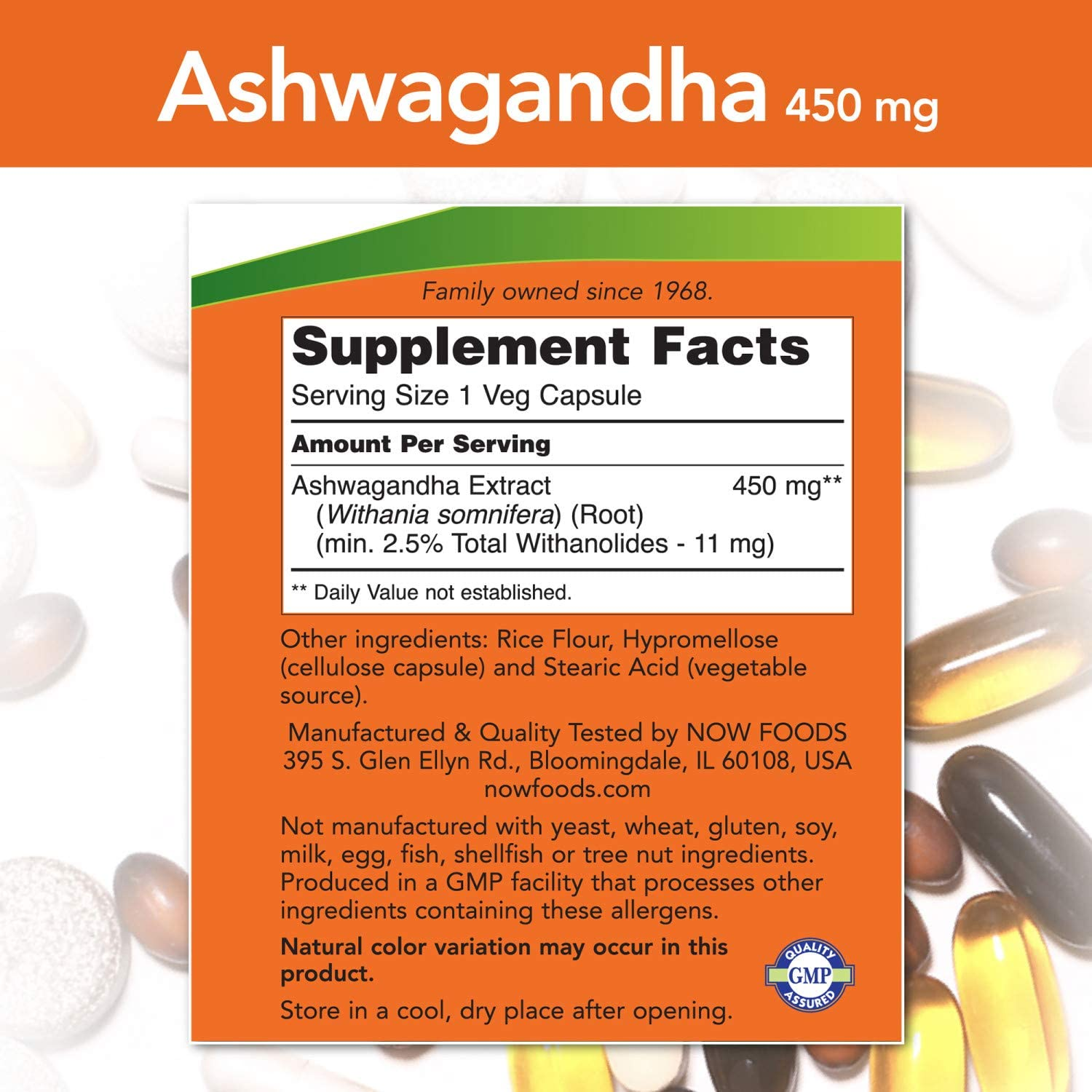 NOW Supplements, Ashwagandha (Withania somnifera) 450 Mg (Standardized Extract), 90 Veg Capsules: Health & Personal Care