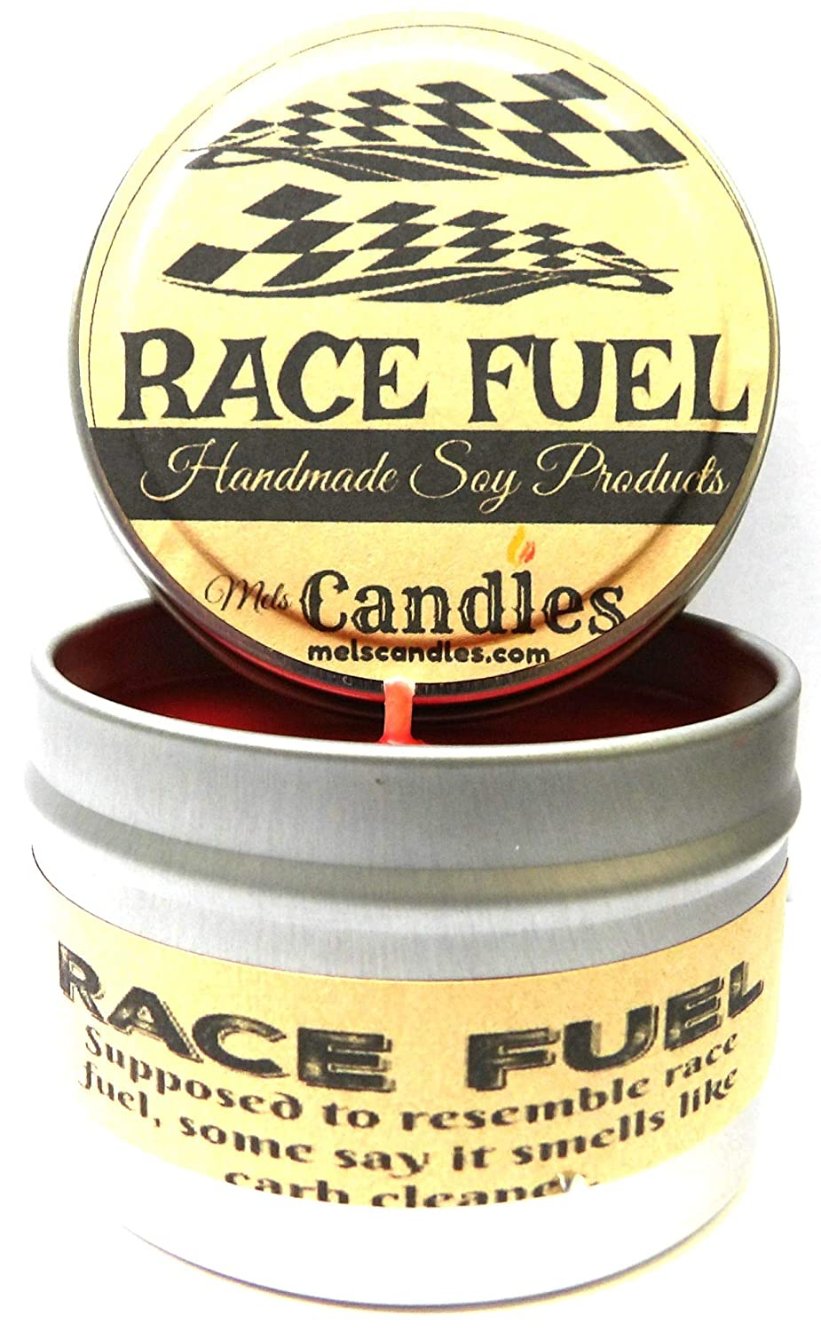 Race Fuel (Great for Racers) 4oz All Natural Soy Candle Tin (Take It Any Where)