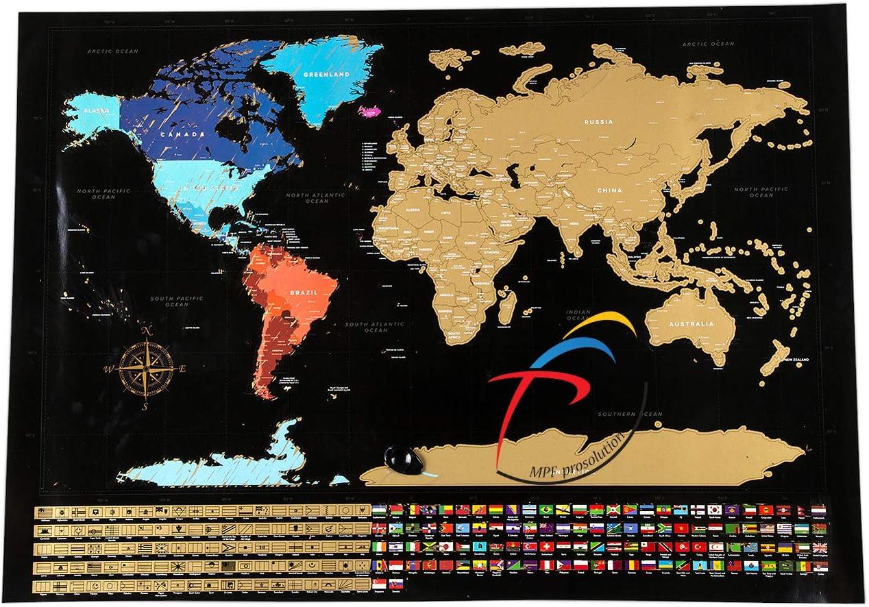 Mapa del mundo para rascar MPFpro Solution, mapa para rascar, mapa del mundo para rascar grande, mapa para rascar, rascar los lugares del estado, póster de pared para rascar, 82,5 x 59,4
