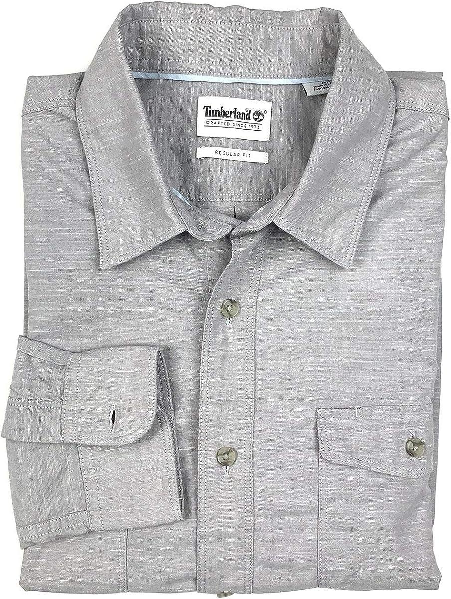 Timberland Camisa de Manga Larga con Botones Chambray para Hombre - Gris - Large: Amazon.es: Ropa y accesorios