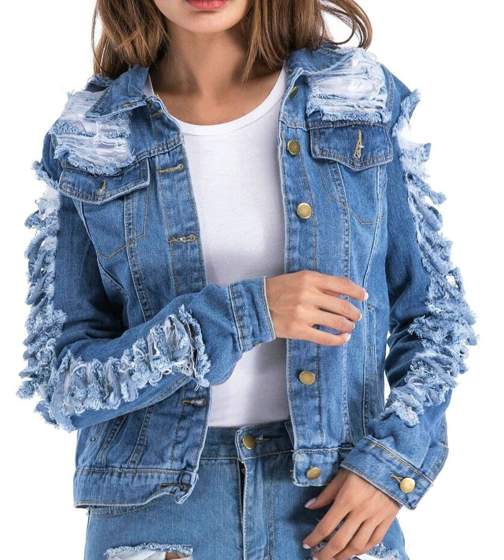 Alion Women Turn Down Collar Button Down Destroyed Ripped Hole Denim Long Sleeve Fashion Jackets Blue XS